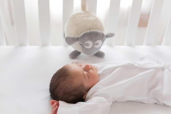 Baby produkter Babyen sover godt med Ewan 600x400 - Drømmesauen Ewan (Grå)